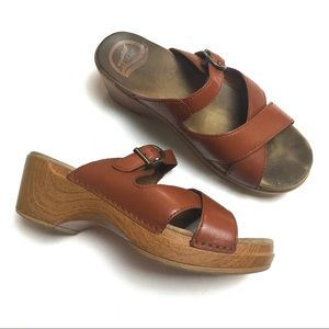 Dansko strappy leather clogs